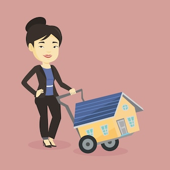 Young woman buying house