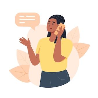 Молодая женщина звонит по смартфону