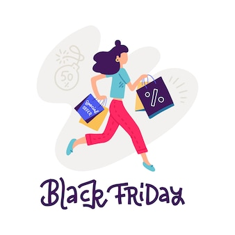 Young woman carrying shopping bags with purchases. girl taking part in seasonal black fridaysale at store, shop, mall. cartoon character  on white background,   illustration.