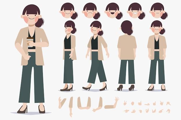 Disegno di creazione del personaggio di giovane donna per design piatto del fumetto di animazione