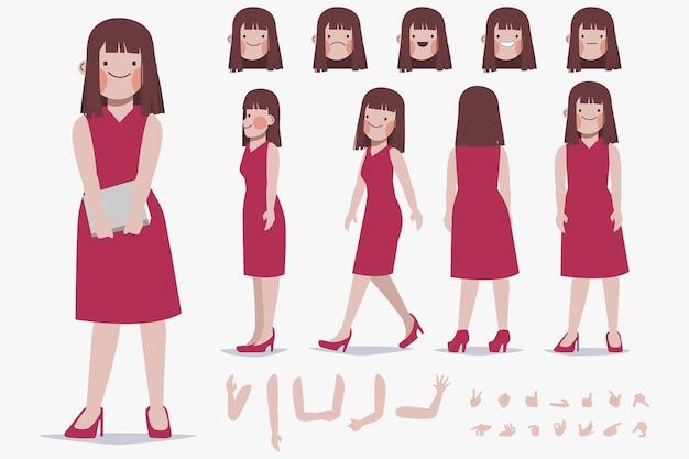 Создание персонажа молодой женщины для анимационного мультфильма с плоским дизайном