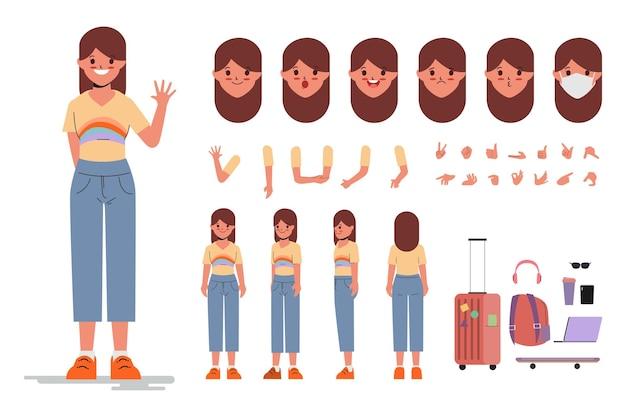 アニメーション漫画フラットデザインの若い女性のキャラクター作成デザイン