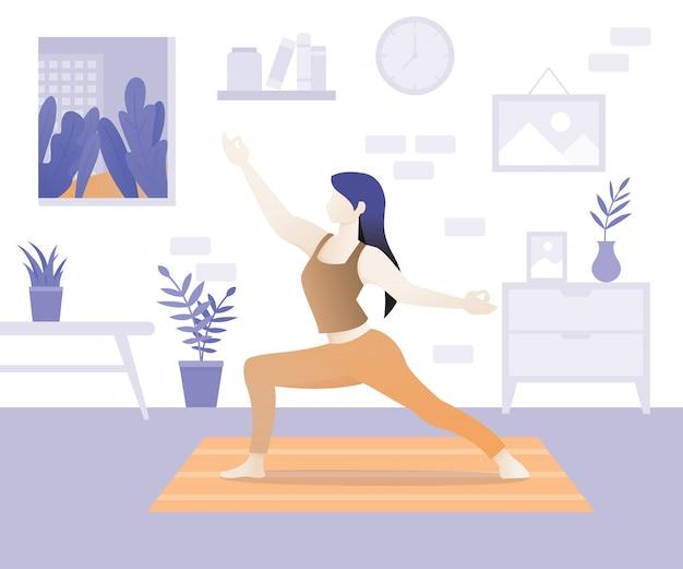 Young woman character doing yoga