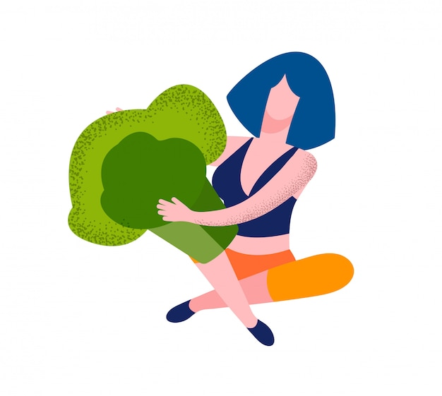 Young woman character hold piece of huge broccoli