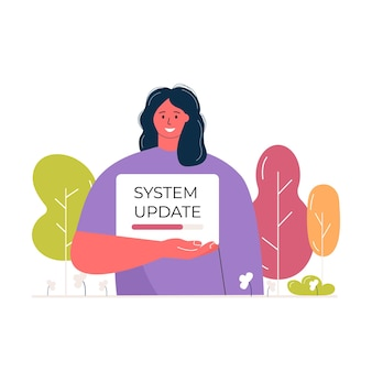 プログレスバーとポスターを保持している若い女性のキャラクター。システムの更新とファイルのアップロードの概念。エコウェブページのバナーベクトルを読み込んでいます。