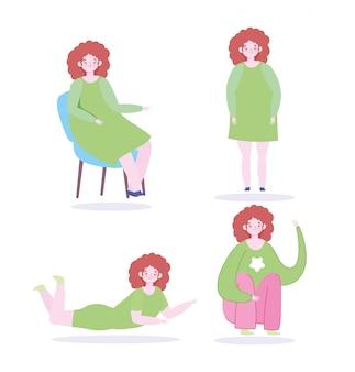 さまざまな活動のデザインを作る若い女性キャラクター