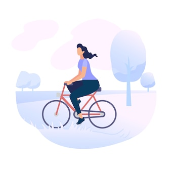 Young woman character riding bicycle in city park