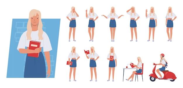 Набор символов молодой женщины. студент, держа книгу, езда скутер, разные позы и эмоции.