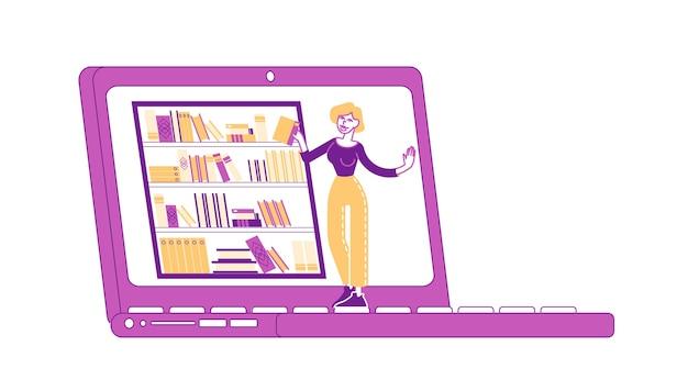 若い女性のキャラクターは、オンラインで本を勉強して読んでいる巨大なラップトップに立っています。コースの遠隔学習、オンラインライブラリコンセプトの教育。教科書、試験準備。線形