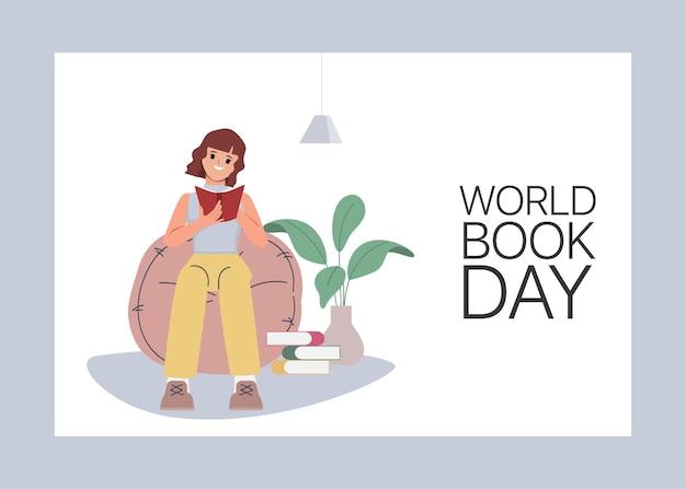 책을 읽는 젊은 여성 캐릭터는 집에 있다
