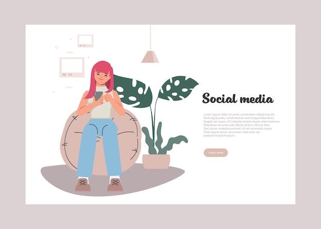 휴대 전화를 사용하는 젊은 여성 캐릭터 소셜 미디어 개념 배경