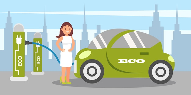 Young woman charging electric car at charging station, eco friendly alternative transportation vehicle  illustration in