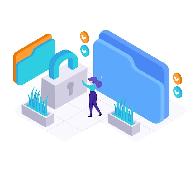 Young woman checking security password on virsual folder, isometric   illustration