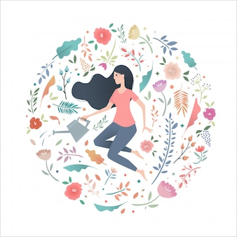Young woman in a circle of flowers with a garden watering can.
