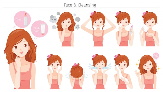 Young woman cleaning and care her face with various actions set