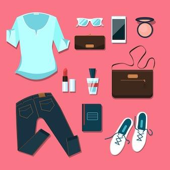 젊은 여성 의류 및 액세서리 복장. 노트북 및 스마트 폰, 지갑 및 파우더, 블라우스 및 핸드백