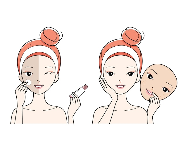 Young woman color face skin