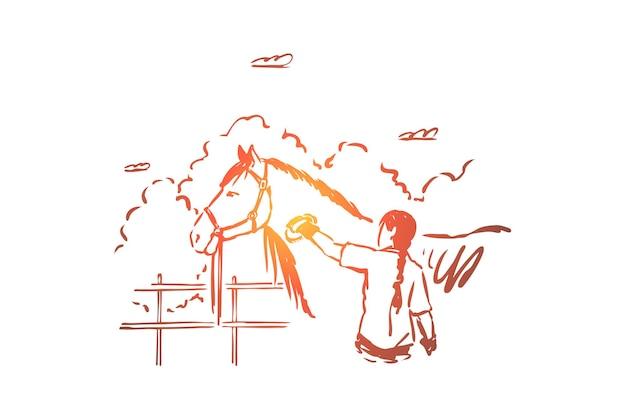 Молодая женщина, расчесывающая породистую кобылу, уход за животными, иллюстрация любителя домашних животных