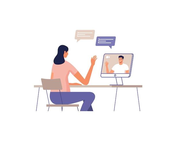 젊은 여자는 컴퓨터를 사용하여 온라인으로 통신합니다. 장치 화면에 남자. 온라인 회의, 데이트, 통화 및 비디오의 원격 통신 개념.