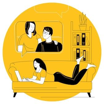 若い女性は、居心地の良い家のビデオ通話ソファを介して友人や家族と通信します。ビデオ会議とオンライン会議のベクトルの概念。