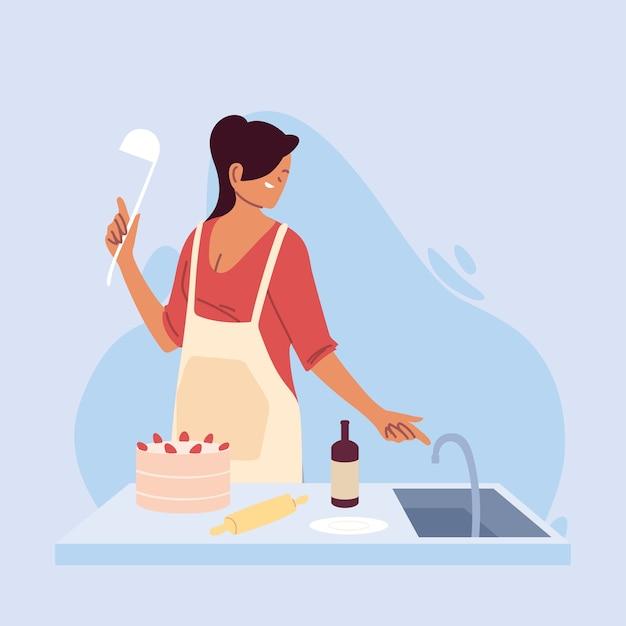 若い女性クックケーキイラストデザインの準備