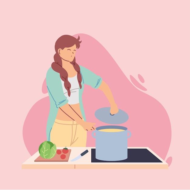 若い女性クック石鹸イラストデザインの準備