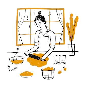 Молодая женщина приготовления пищи на кухне.