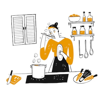 A young woman cooks in her kitchen.
