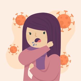 Giovane donna che tossisce sul suo gomito illustrato
