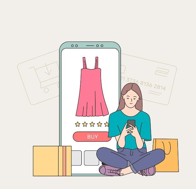 若い女性の顧客漫画のキャラクターのバイヤーは、オンラインで支払いを行う電話を保持します