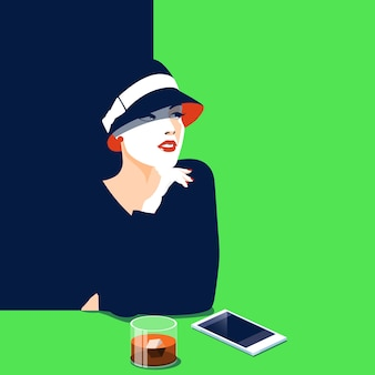 Young woman in depression, drinking alcohol.flat vector illustration