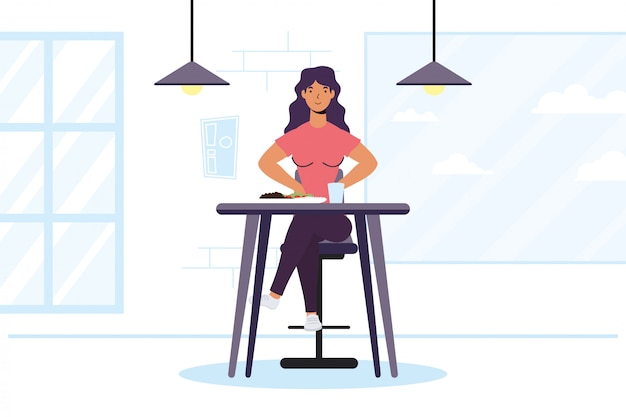Young woman dinning in restaurant character illustration design