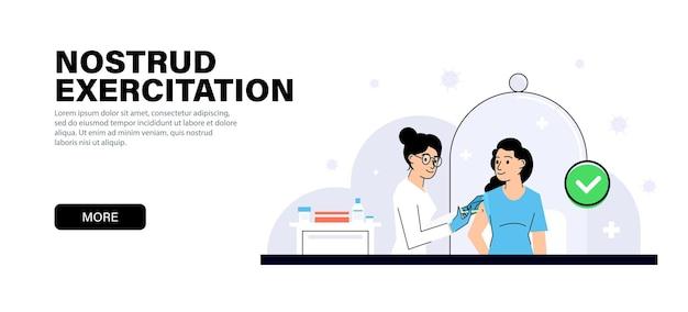 클리닉의 젊은 여성 의사가 어린 소녀에게 백신을 접종합니다