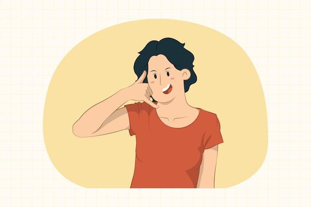Молодая женщина делает жест телефона