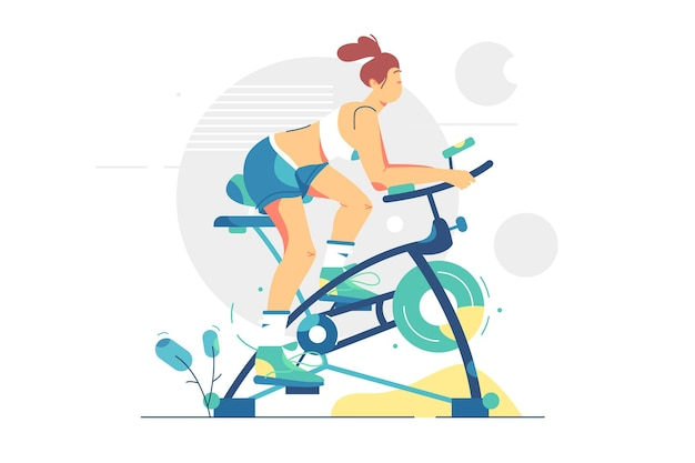 Молодая женщина занимается спортом на велосипеде иллюстрации. тренировка девушки на велотренажере, здоровый образ жизни, плоский стиль потери веса. спорт и фитнес.