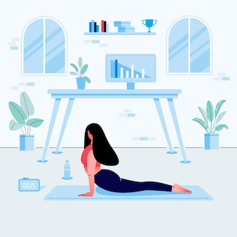 Молодая женщина делает упражнения йоги на домашнем рабочем месте