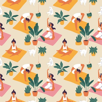 Young woman doing yoga on a pink or orange mat illustration seamless pattern on beige background