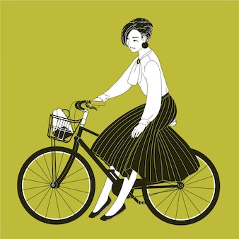 Young woman dressed in elegant clothes riding city bike drawn with contour lines on yellow background.