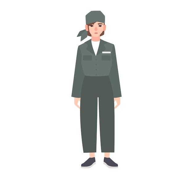 白い背景で隔離の刑務所の制服を着た若い女性。女性の囚人、有罪判決を受けた犯罪者、逮捕または罰せられた人、有罪判決を受けた、重罪。フラットな漫画のキャラクター。ベクトルイラスト。