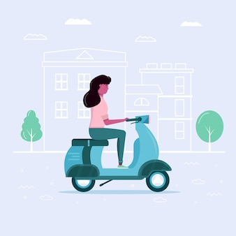 Young woman drive scooter in eco city, transportation in public park. personal electric transport, green electro scooter, gyroscooter. ecological vehicle, city life concept