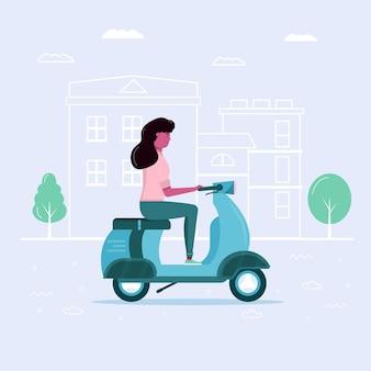 Самокат привода молодой женщины в эко-городе, транспорт в общественном парке. персональный электротранспорт, зеленый электросамокат, гироскутер. экологический автомобиль, концепция городской жизни