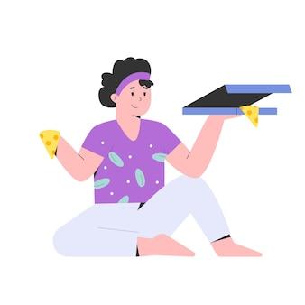 Молодая женщина ест пиццу с счастливым