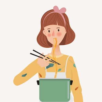 Young woman eatting noodle. taste food and cooking. hand drawn character with lifestyle people.