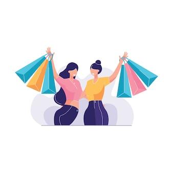 Молодая женщина, наслаждаясь шоппинг вместе векторная иллюстрация