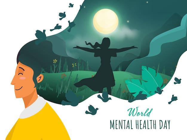 젊은 여성은 세계 정신 건강의 날 밤 시간에 자연 경관에 두 팔을 벌려 공기를 느낍니다.