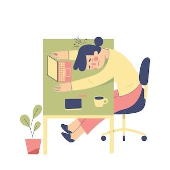 젊은 여자는 그녀의 책상에 떨어지는 피곤 느낌, 소녀는 연구의 지친 느낌