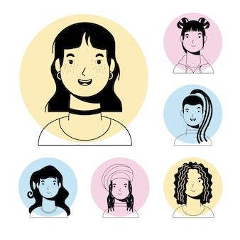 Молодая женщина, женщина и межрасовые девушки персонажей векторный дизайн стиля линии