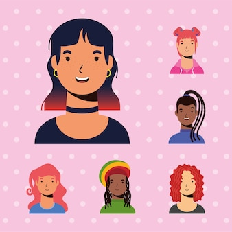 Young woman female and interacial girls characters vector flat style design