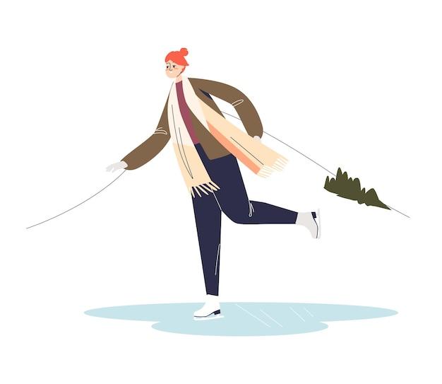 Фигурное катание молодой женщины на катке. концепция зимних видов спорта. женский персонаж мультфильма наслаждается зимним катанием на коньках.