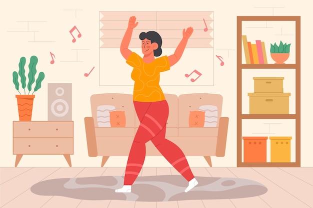 집에서 춤추는 젊은 여자 휘트니스 일러스트